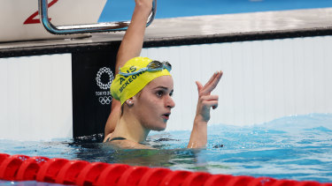 Sharpshooter ... Kaylee McKeown after her 200m backstroke victory.