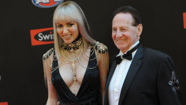 Reunited: Gabi Grecko and Geoffrey Edelsten. The pair at the Brownlow Medal in Melbourne in 2014.