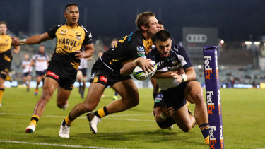 Tom Wright crosses for the Brumbies in their win over the Force, which was something of a ratings success.