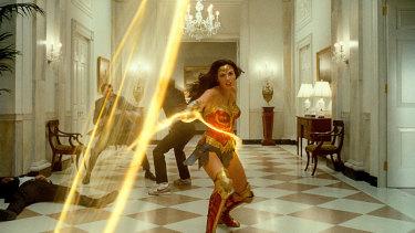 Gal Gadot in a scene from Wonder Woman 1984.