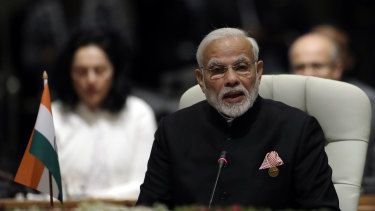 Indian Prime Minister Narendra Modi speaks during the BRICS Summit in Johannesburg, South Africa, Thursday, July 26.