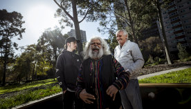 BJ Braybon, Uncle Jack Charles and Uncle Graham 'Bootsie' Thorpe at Fitzroy's Atherton Gardens.