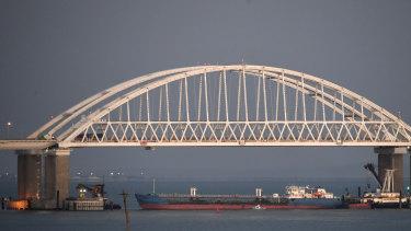 A Russian tanker blocks the passage to the Kerch Strait, Crimea.