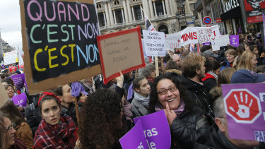 November 24 was marked as a day for nationwide marches to protest violence against women in France. Poster reads: when it's no, it's no.