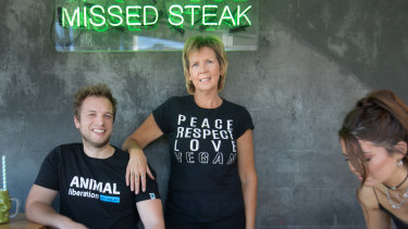 Take a butcher's: Vegan For a Day bus tours hosts James Persson (left) a former butcher, and chef Ginger Scott at Matcha Mylkbar in St Kilda.