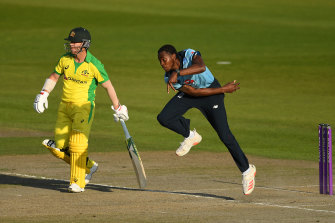 Jofra Archer bowls in Manchester in Australia's one-day tour.