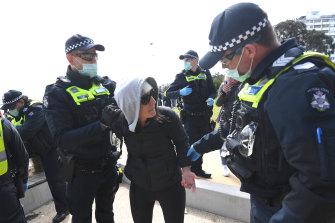 Anti-lockdown protest in St Kilda.