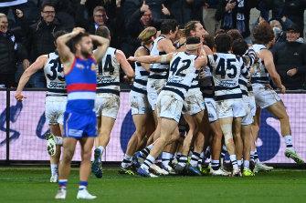 Joy and despair: Post-match scenes.