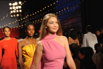 Gigi Hadid in millennial pink on the runway for Brandon Maxwell in 2018.