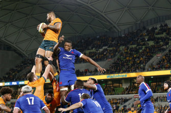 Lukhan Salakaia-Loto wins a lineout for the Wallabies on a night where the French pinched a few at crucial times.