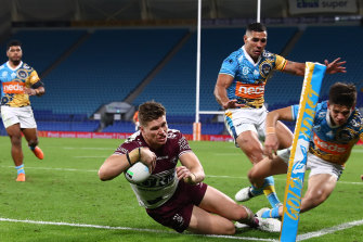 Foursome ... the Manly winger scoring one of four tries against the Gold Coast in round 15.