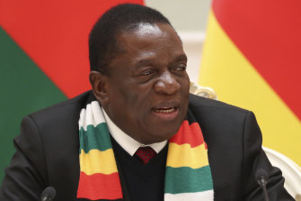 Zimbabwe's President Emmerson Mnangagwa. An economic crisis is forcing greater numbers of people onto food handouts.