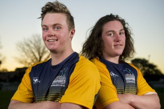 Lachlan Lonergan, right, will join brother Ryan at the Brumbies next year.