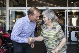 Tony Abbott canvasses for support at a Mosman shopping centre.