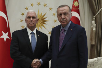 US Vice President Mike Pence meets with Turkish President Recep Tayyip Erdogan.