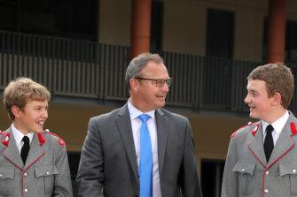 From left: The King's School Parramatta's Albert Osborn, Peter Reuben and Daniel Payne.
