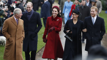 Britain's Royal family arrive to attend the Christmas day service at St Mary Magdalene Church.
