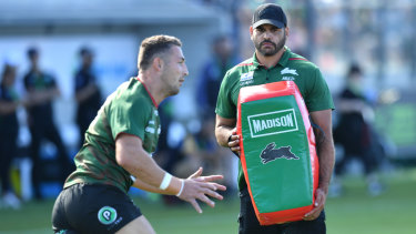 Greg Inglis helped with Souths warm-up on Saturday as he weighed up his own future.