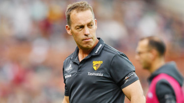 Hawks coach Alastair Clarkson during the game.