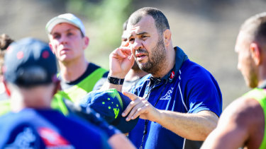 Uncertain future: Wallabies coach Michael Cheika addresses his players.