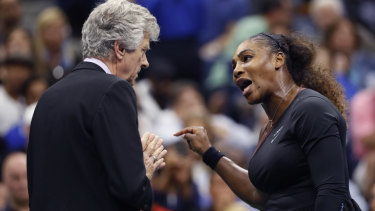 Point of contention: Serena Williams argues with referee Brian Earley during the women's final of the US Open.