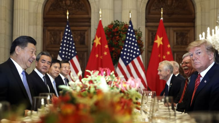 US President Donald Trump, second right, and China's President Xi Jinping, second left, attend their bilateral meeting at the G20 Summit in Buenos Aires, Argentina.