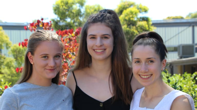 Tintern Grammar IB students Rosie Addison, Daniella Cosentino and Mae Eadie.