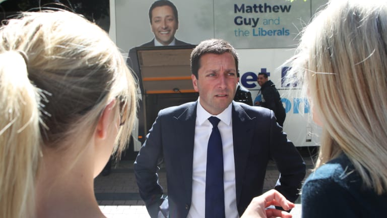 Victorian Opposition Leader Matthew Guy on the hustings in Melbourne on Wednesday.