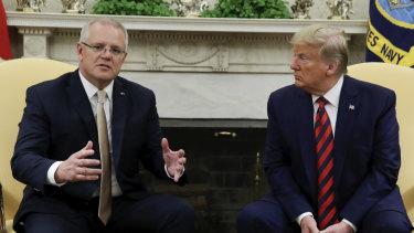 Prime Minister Scott Morrison and US President Donald Trump at the White House.