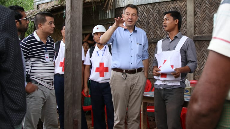 Peter Maurer visits Nga Khu Ya village in Myanmar, where those who did not flee violence are now also relying on basic aid to survive.