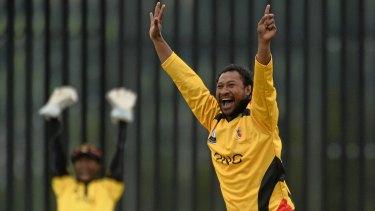 Papua New Guinea captain Assad Vala claims Jersey captain Peter Gough leg-before at a 2015 World Twenty20 qualifier.