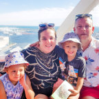 A Moveable Feast Catering Perth owners Zac and Elspeth Wilkinson with their children Hattie and Patch.