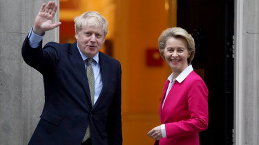 British Prime Minister Boris Johnson meets EU Commission President Ursula von der Leyen at 10 Downing Street. His withdrawal bill is now passed.