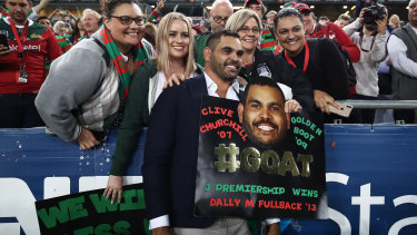Greg Inglis is honoured by South Sydney fans at their win over the Broncos.