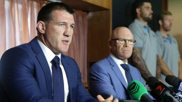 United front: Sharks captain Paul Gallen and CEO Barry Russell answer questions on Shane Flanagan's departure.