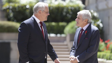 Scott Morrison and Australian War Memorial chairman Kerry Stokes at a Remembrance Day ceremony earlier this year.