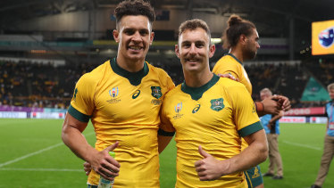 Old pals Matt Toomua (l) and Nic White have never started a Test together in the halves.
