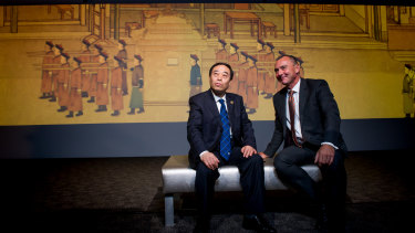 Deputy director of the National Museum of China Shan Wei with NNA director Dr Mathew Trinca at the launch of <i>The Historical Expression of Chinese Art: Calligraphy and Painting from the National Museum of China.</i>