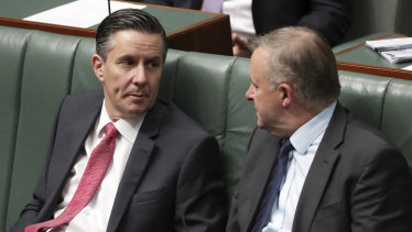 Labor MP Mark Butler and Opposition Leader Anthony Albanese.