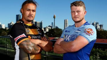 Andrew Fiagatusa of Penrith and Riley Jacobson of Two Blues pose during the 2021 Shute Shield launch.