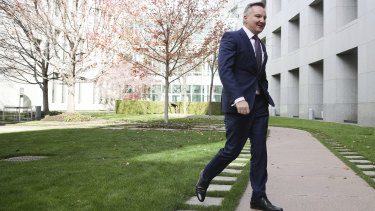 Shadow Treasurer Chris Bowen arrives to address the media on the Productivity Commission super findings.