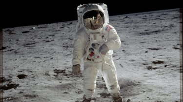 Apollo 11 astronaut Buzz Aldrin walks on the moon.