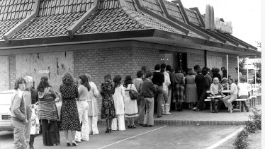 People queuing outside the McDonald's in Weston Creek in 1979. Recognise anyone?