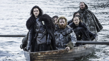 Kit Harington as Jon Snow, left, in a scene from Game of Thrones.