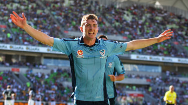 Sebastian Ryall celebrates after his late equaliser against Melbourne Victory on Australia Day, 2012.