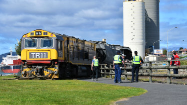 The freight train, carrying cement, came to rest on the grass.