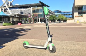 Emergency services said the man fell from the Lime scooter on the South Bank forecourt near the Wheel of Brisbane.