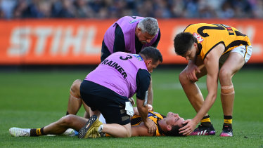 Jaeger O'Meara of the Hawks is attended to by trainers after a collision with Lachie Plowman.