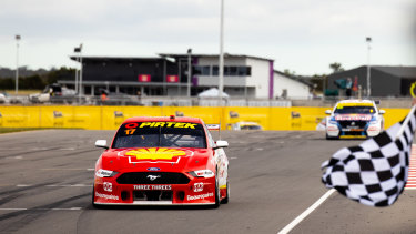 Flying finish: Scott McLaughlin storms home in race 3 of the Supersprint round.