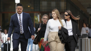 Jarryd Hayne and his supporters outside court.